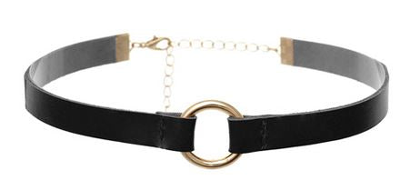 Choker Necklace Leather w/ring - Black