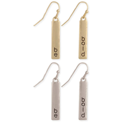 Be Bold Bottled Bar Word Earrings