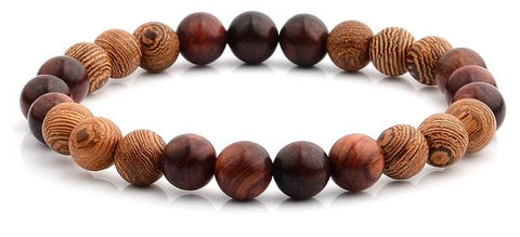 8mm Matte Onyx with Red Sandalwood Willow Wood Beaded Bracelet