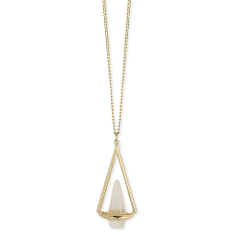 Gold Caged Clear Quartz Long Necklace