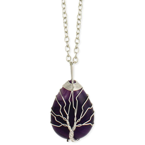 Purple Aplenty Amethyst & Silver Wire Tree Necklace