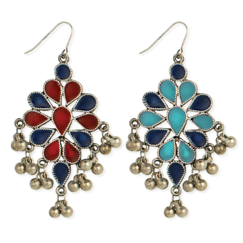 Fiesta Flower Silver Bell Drop Earrings