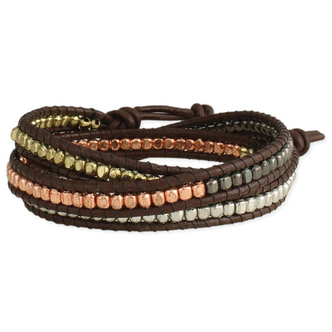 Boho Babe Mixed Metal & Leather Wrap Bracelet