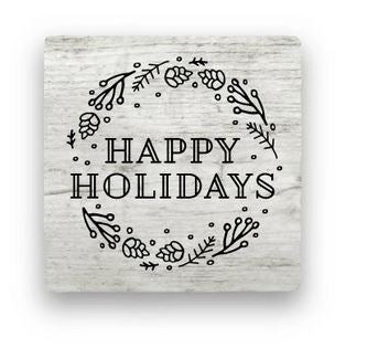 Happy Holidays - Frosted Weathered Wood