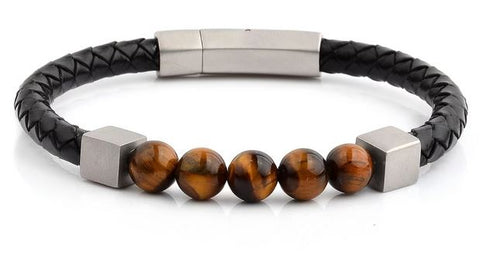 Crucible Men's Tiger's Eye Leather Bracelet