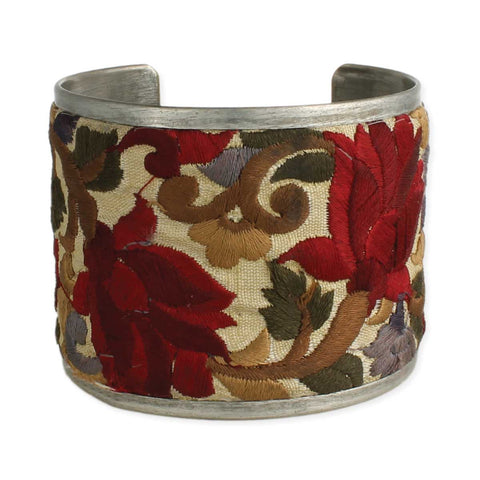 Red Flower Embroidered Elegance Cuff Bracelet