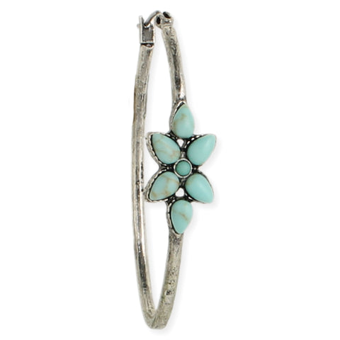 Turquoise Wild Flower Silver Hoop Earrings