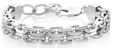 Crucible High Polished Stainless Steel Double Strand Anchor Chain Bracelet (17 mm) - 8.5""