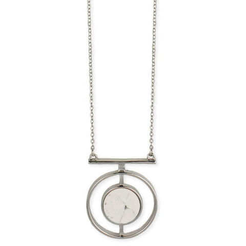 Silver & White Howlite Circle Pendant Necklace