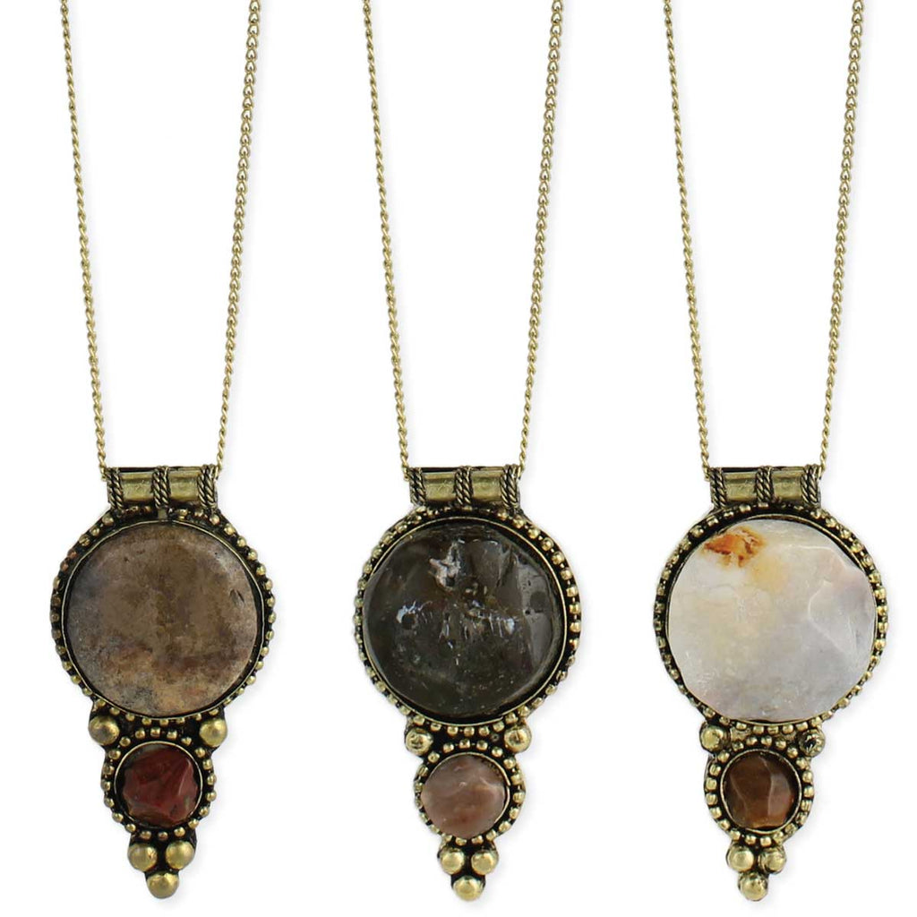 Gold Necklace & Gold Agate Chunk Necklace