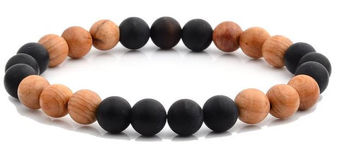 8mm Matte Onyx w/Light Willow Wood Bracelet