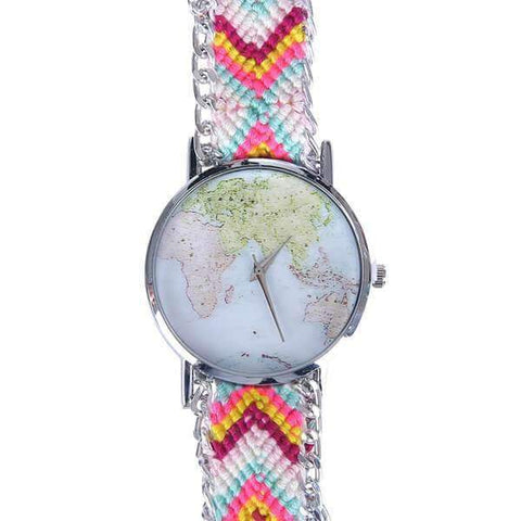 Woven Watch With Map Of The World Face