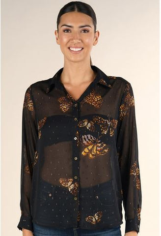 Butterfly Print Collared Top