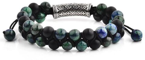 Crucible Men's Double Layered Beaded Stone Adjustable Bracelet