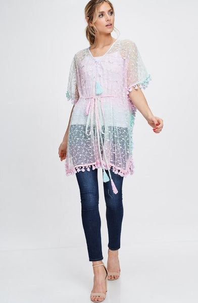 Kimono Drawstring Tie Top Cover-Up