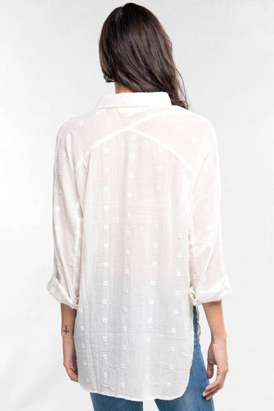 Embroidered Gauze W L/S Cross Yoke Button Up Top