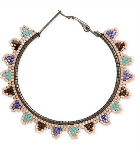 Southwest Beaded Rays Hoop Earring
