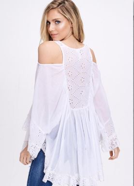 Cold Shoulder Flared Sleeve Lace Trim Dress