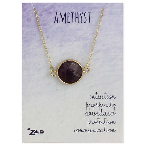 Healing Crystal Round Amethyst & Gold Necklace