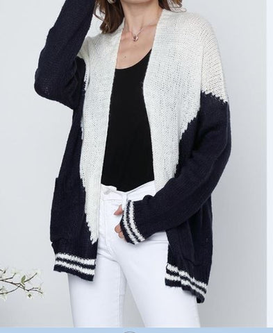 Two Tone  Sweater Cardigan With 2 Pockets