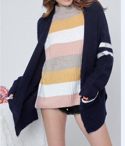 Double Line Detailed Knit Sweater Cardigan With Slits