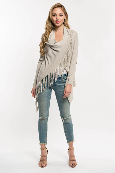 Carys Fringed Sweater - Heather Stone