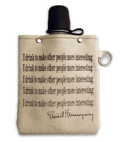 Hemmingway Quote - Canvas Flask 240ml