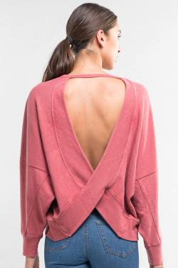 French Terry Open Back Oversized Sweatshirt