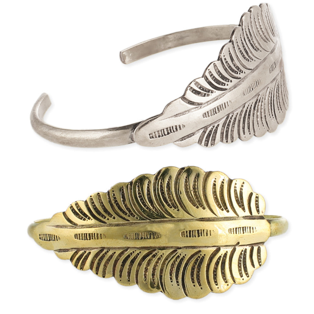 Antiqued Metal Leaf Cuff Bracelet - Anonymous L.A.
