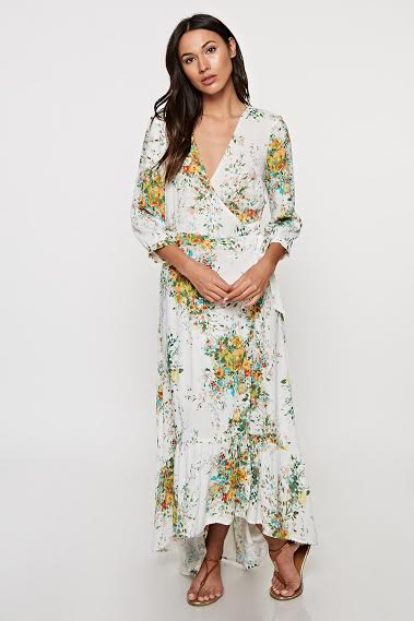 Print Wrap Dress w/ Ruffle Hem