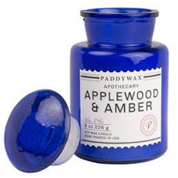 Applewood & Amber Blue Apothecary Candle - Anonymous L.A.
