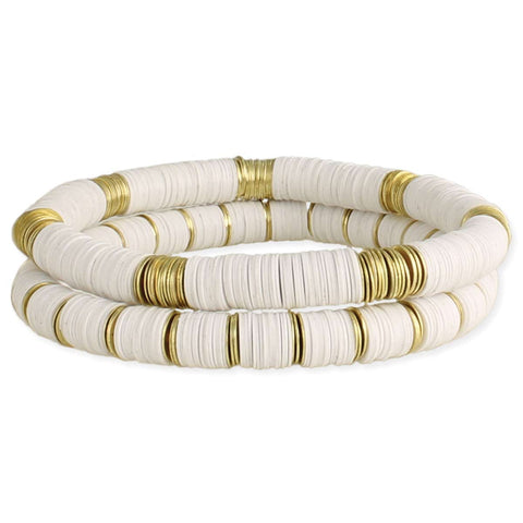 City Streets White & Gold Stacked Sequins Stretch Bracelet Set