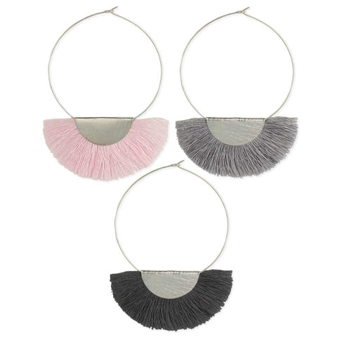 Brushed Silver Hoop Fringe Earring