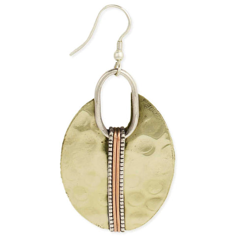 Mixed Metal Hammered Gold Oval Earring