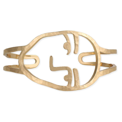 About Face Gold Visage Cuff Bracelet