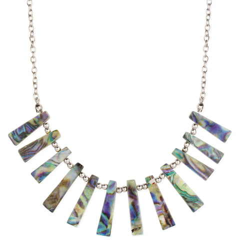 Beach Finds Silver & Shell Bar Bib Necklace