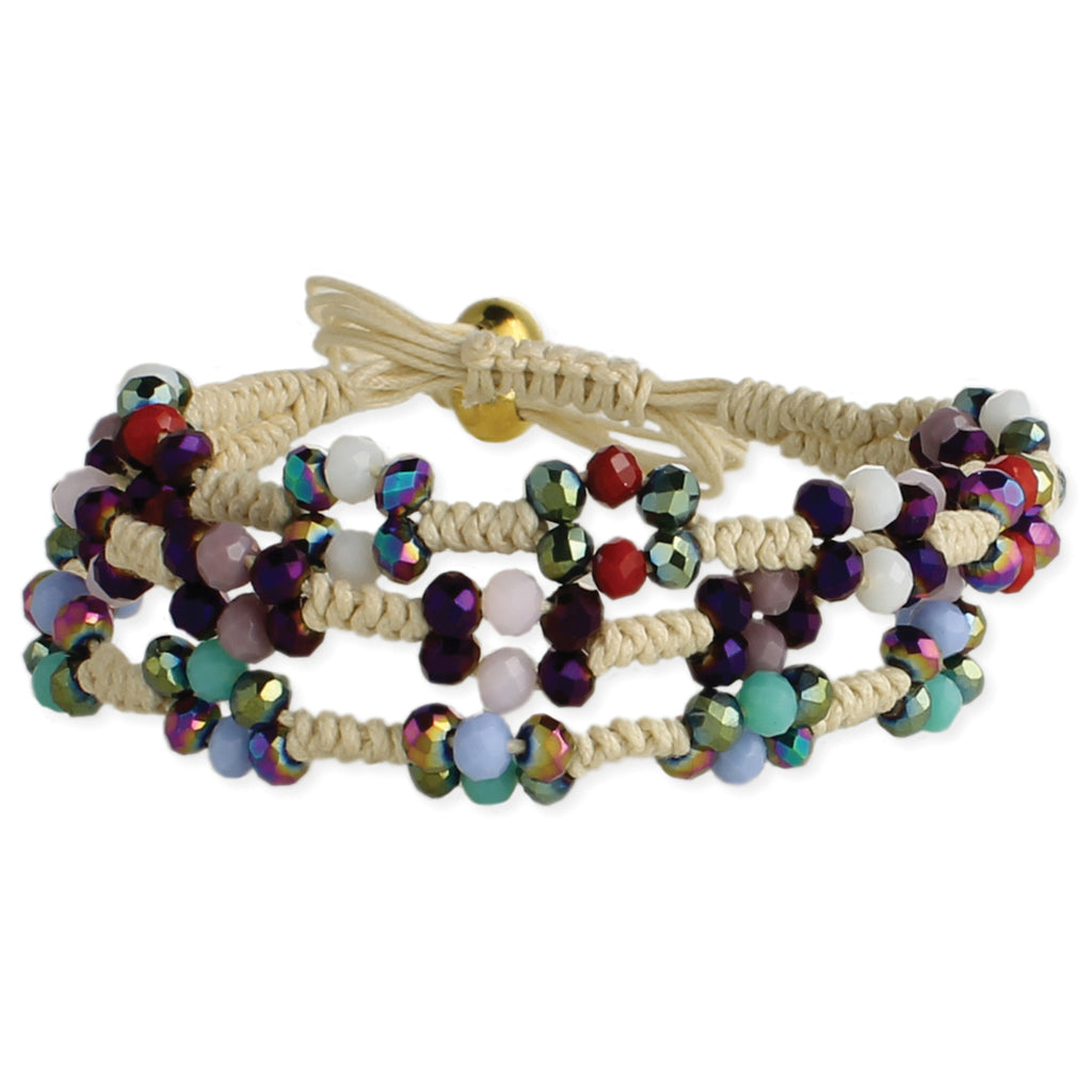 3 Line Bead & Macrame Earthy Jewels Bracelet