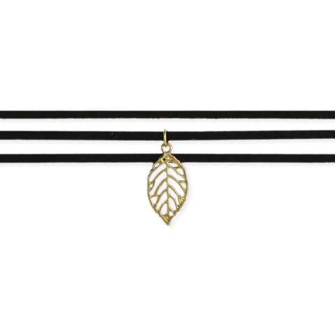Black Suede 3 Line Gold Leaf Choker Necklace - Anonymous L.A. - 1