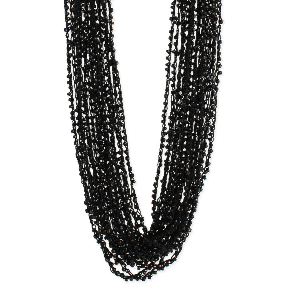 Black Thread & Bead Multi Line Long Necklace - Anonymous L.A.