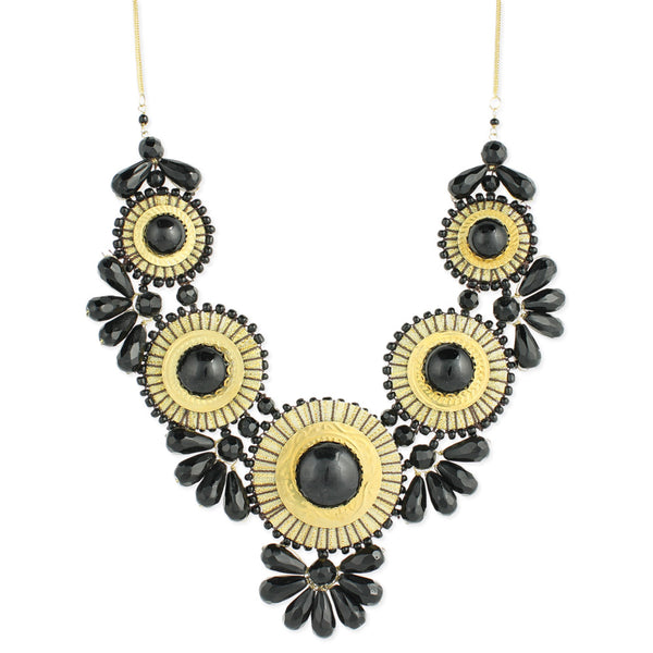 Black Bead Medallion Necklace - Anonymous L.A. - 1