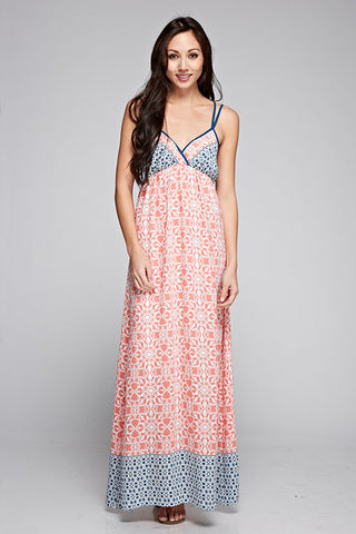 Dual Shoulder Strap Printed Maxi Dress