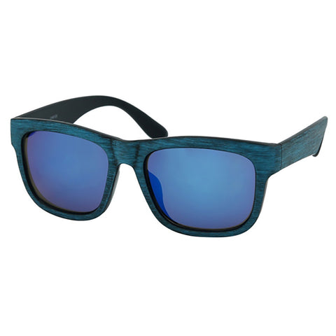Blue Antiqued Wood Specs Sunglasses