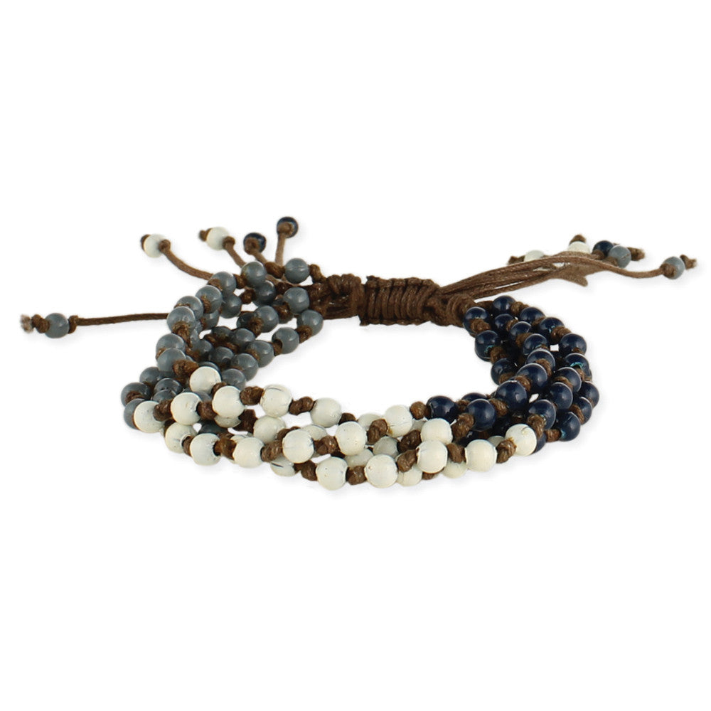 Blue, White & Grey Bead Pull Bracelet - Anonymous L.A.