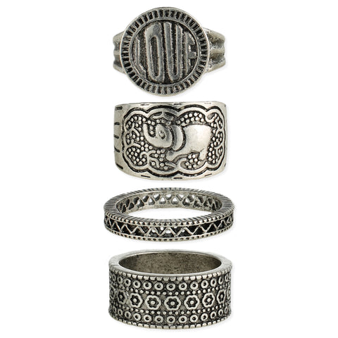 Set of 4 Antique Silver Boho Band Rings