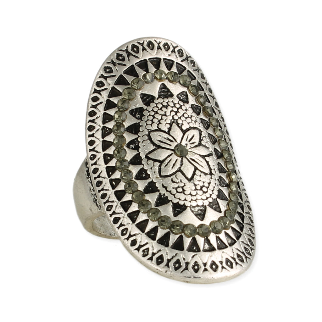 Silver Floral & Grey Crystal Medallion Ring