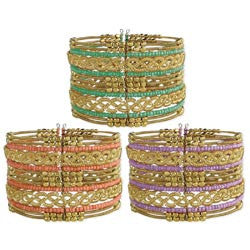 Gold Braided Wire Bead Cuff Bracelet