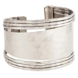 Silver Hammered Graduating Cuff Bracelet