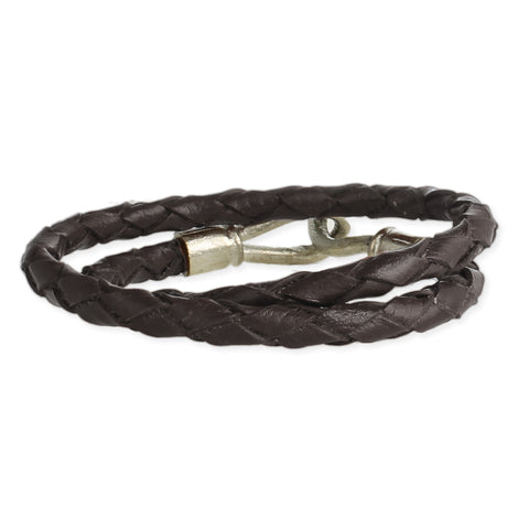 Edgy Black Twisted Leather Men's Bracelet