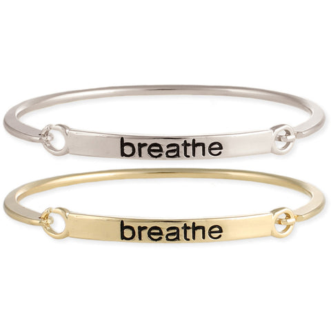 Breathe Stamped Word Bangle - Anonymous L.A.