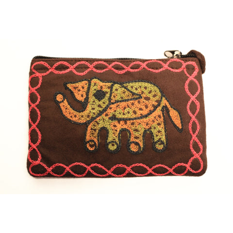 Elephant Coin Purse (Brown/Pink)